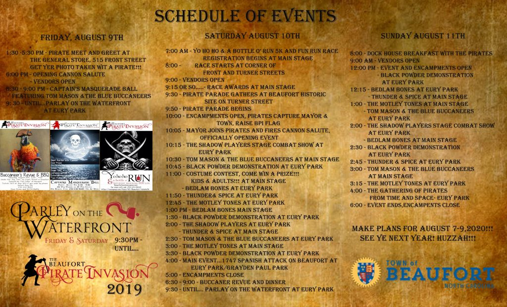 Schedule of Events - Beaufort Pirate Invasion